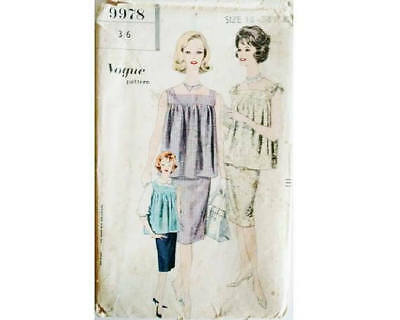 UNUSED VINTAGE VOGUE 9978 Sewing Pattern Maternity Tunic Over Blouse ...