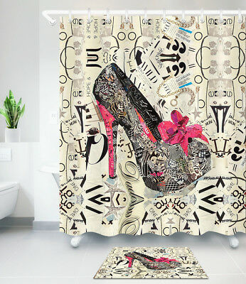 Girl High Heels Shoes Shower Curtain Snakeskin Pattern And Bow Tie Bath Mat Rug