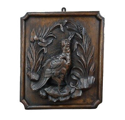French Antique Black Forest Hunt Theme Hand Carved Wood Bird Wall Panel