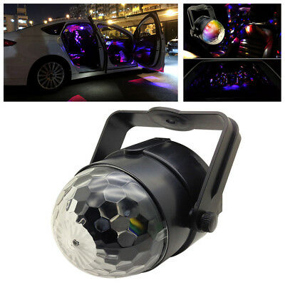 12V 6W 3 Color Rotatable LED Car Music Rhythm Interior Light DJ Disco Flash Lamp