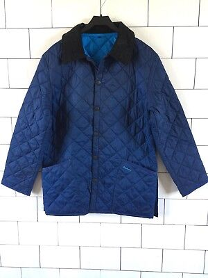 Urban Vintage Retro Blue Liddesdale Barbour Quilted Jacket Coat Small #35