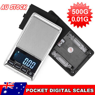 500g 0.01 DIGITAL POCKET SCALES JEWELLERY ELECTRONIC milligram micro mg AU Ship