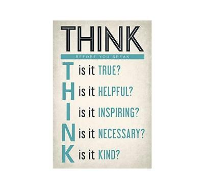 Think Before You Speak Motivational Classroom Poster