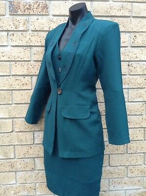 Vintage Classic Womens Skirt Suit Sze 8 Dark Green Vest Jacket Made in AUSTRALIA