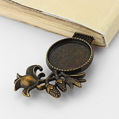 5 Antique Bronze Rose Flower Bookmark Blank Setting Base Fit 20mm Round Cabochon