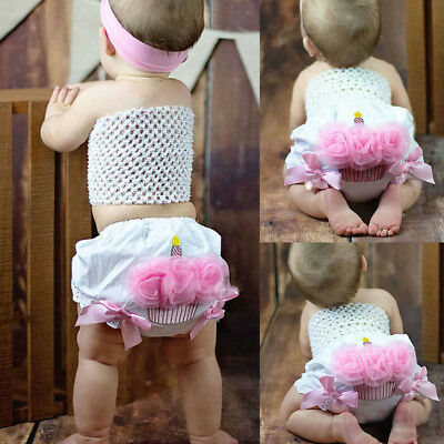 Canis Newborn Infant Baby Girl Flower Ruffle Cupcake Diaper Cover Bloomer Shorts