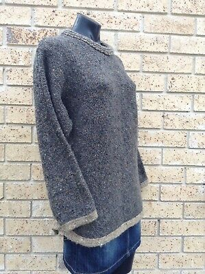 HANDSPUN 100% PURE WOOL Warm Thick Chunky Knit Brown Sz L Jumper MADE IN IRELAND