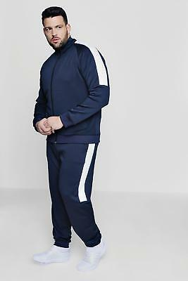 NEW Boohoo Mens Big And Tall Skinny Fit Panel Tricot Tracksuit in Navy size Xxl