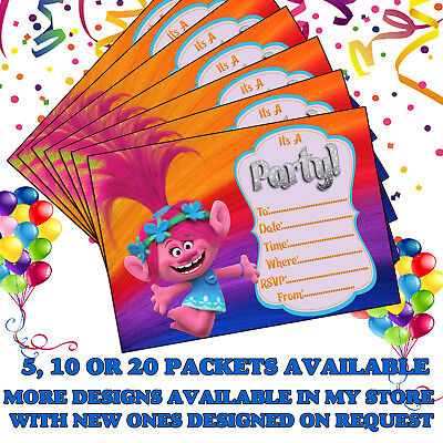 poppy trolls birthday party invitations invites children s 10 20 30