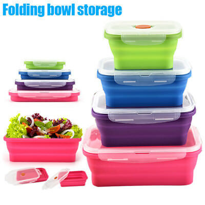 Safe Microwave Silicone Collapsible Folding Lunch Bowl Box Food Container Soup