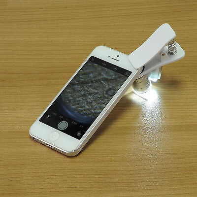 60X Optical LED Clip Zoom Mobile Phone Camera Magnifier Microscope Clip Tool