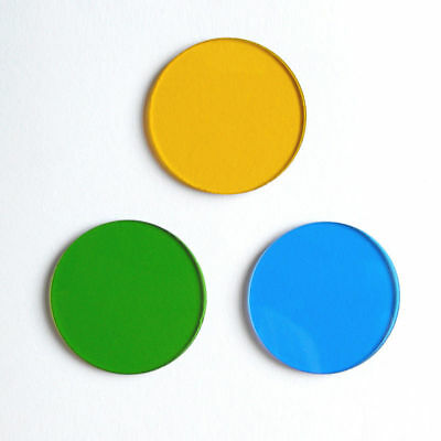 32mm Microscope Optical Filters Color Absorber Green Blue Yellow 3pcs Set