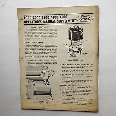 1969 Operator's Manual SUPPLEMENT 4500 4400 3500 3400 Tractor