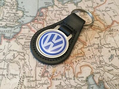 VW Quality Black Real Leather Keyring GOLF POLO UP GTI  VOLKSWAGEN TIGUAN