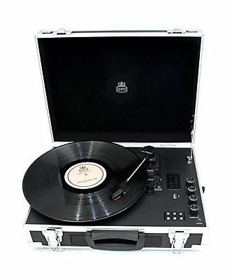 GPO Flight Case 3-Speed Vinyl Turntable with Built-In Speakers - Black / Silver