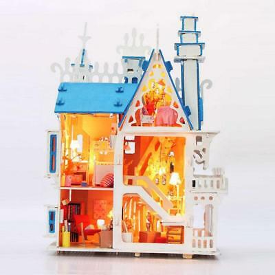 Wooden Doll House With Furniture Set Miniature DIY Princess Toy  Doll New