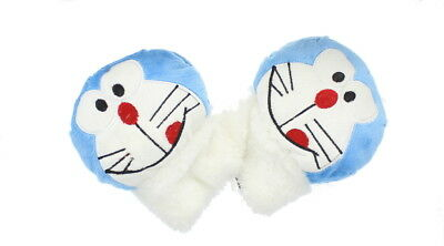 Children Cat Fingerless Gloves in Blue - Soft & Fleecy Animal Dress Accessory