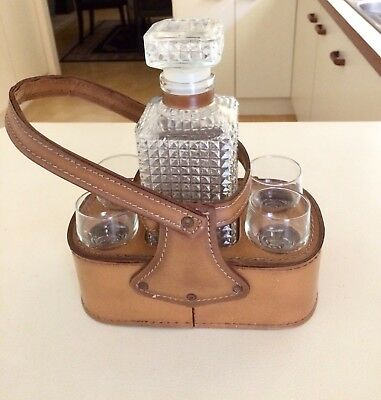 Vintage Cut Glass Whiskey Decanter And Glass Set x 4 Leather Carry Holder