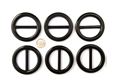 6 pc Scarf Slide/Ring/Clip & T-Shirt/Buckle Round Black Plastic Retro 5069