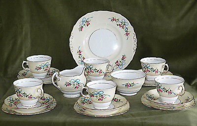 Rare Vintage Colclough Trio Set Ribbons Roses Bows Cup Saucer Side Cake Plate