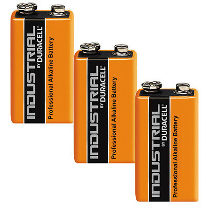 Genuine 3X Duracell 9V Pp3 Industrial Procell Batteries Smoke Alarm Lr22 E-Bloc