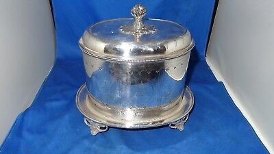 Lovely Victorian Oval Biscuit Box C.1870 Silver Plate Armorial Crest