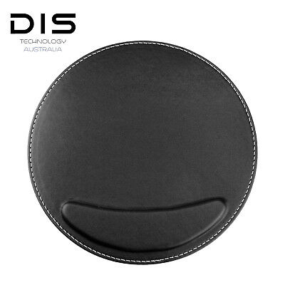 Black Ergonomic Round PU Leather Durable Computer Wrist Support Rest Mouse Pad