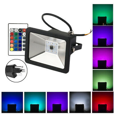 LED Floodlight 10W 20W 30W RGB Color Garden Outdoor Flood Light Lamp +Remote