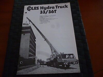 Coles Cranes Hydra Truck 33/36T Technical Spec 1050/10/76 Leaflet *as Pictures*