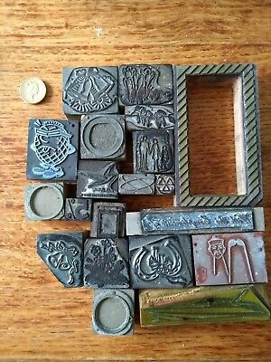 Set of 20 printing wood blocks/ornaments for letterpress printing