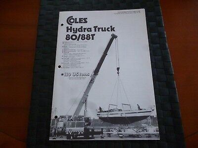 Coles Cranes Hydra Truck 80/88T Technical Spec 1080/8/80 Leaflet *as Pictures*