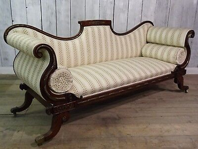 Stunning Antique Fine Quality Scroll End Upholstered Sofa With Brass Decoration