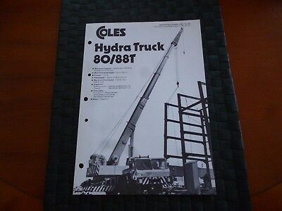 Coles Cranes Hydra Truck 80/88T Technical Spec 1080/12/77 Leaflet *as Pictures*