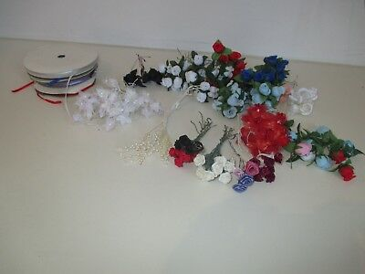 Assorted Craft Flowers and Ribbons