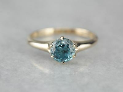 Antique Blue Zircon Solitaire Ring