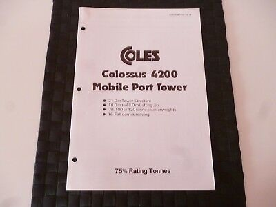 Coles Cranes Colossus 4200 Mobile Port Tower 1415/12/79 Leaflet *as Pictures*