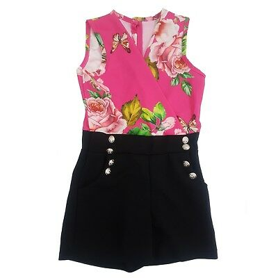 Girl's Double-Breasted Flower Print Playsuit Romper Outfit Formal Party Dress
