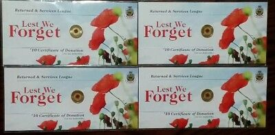 1 xRare Australia 2012 Rememberance Day Red Poppy $2 Two Dollar Carded RSL Coin
