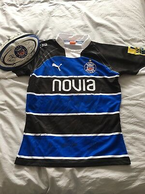 Match worn Signed Bath Rugby Shirt And Ball