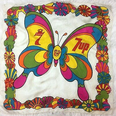Vintage 7UP Seagrams 7 Scarf Bandanna Psychedelic 70s Retro Butterfly