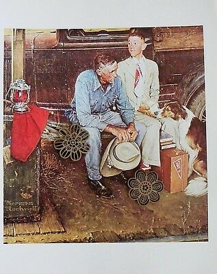 "Vtg Art Print Norman Rockwell Poster 12"" x 15"" Breaking Home Ties"