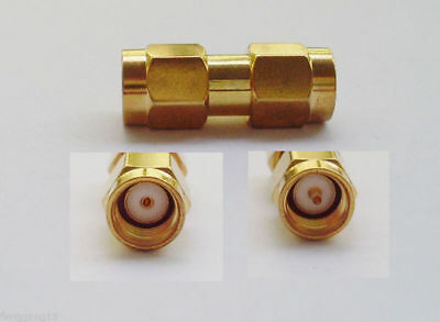 1pc RP-SMA Male Jack Female Pin to SMA Male Plug Straight RF Connector Adapter