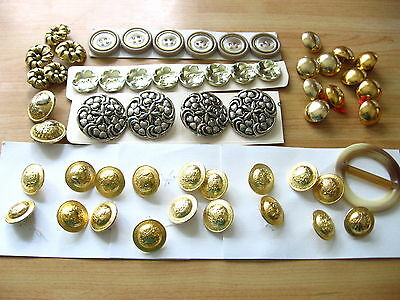 Vintage Selection of Gold, Brass & Silver Effect Buttons