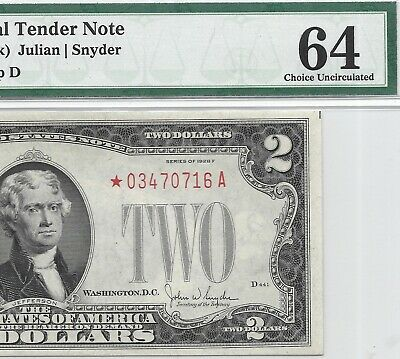 1928F $2 * Star * ⭐️ Legal Tender, Us Note, Pmg Choice Uncirculated 64 Banknote