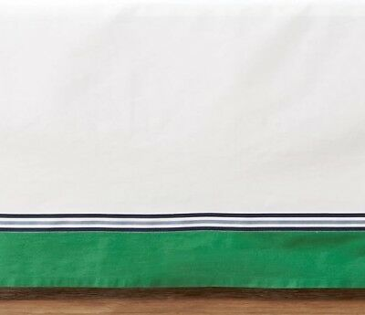 Pottery Barn Kids Color Block Crib Skirt ~ Navy Blue and Green (Airplane)