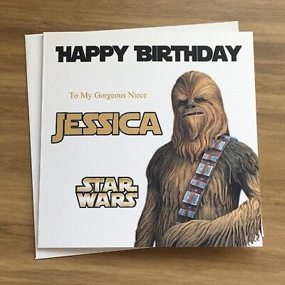 Personalised Star Wars Chewbacca Birthday Card Dad Sister Brother