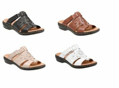 fd9e22838b1 CLARKS WOMEN S LEISA Higley Leather Flat Sandals Select Colors Sizes ...