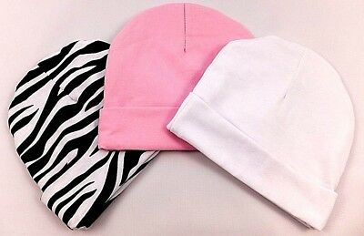 Gorgeous Newborn Baby Beanie Hats (100% Cotton)