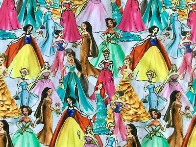 Offcut Disney Princess Fashion Girls Cinderella Belle Polycotton Fabric