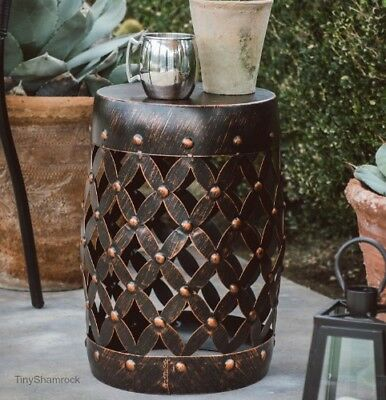 Metal Garden Stool Accent Table Bronze Finish Plant Stand Patio Porch Drum  Side